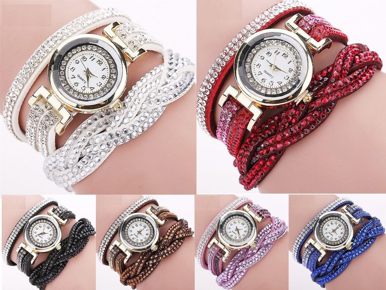 Neue Luxus Armbanduhr für Damen Kunstleder Strass Schmuck Frauen Quarzuhr analog