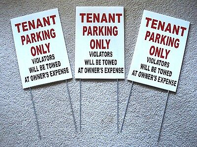 3 Tenant Parking Only  8x12 Plastic Coroplast Signs W Slide-in-stakes