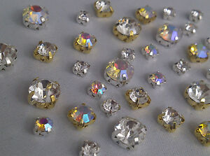 Grade-A-Sew-on-Cut-Glass-Crystals-Rhinestones-Diamantes-Dress-Making-Craft