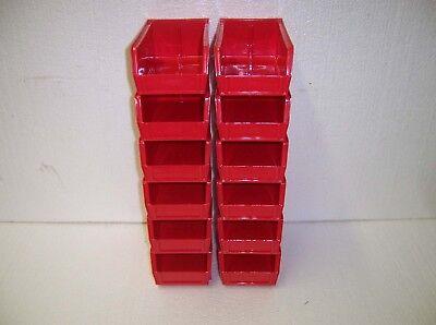 Plastic Storage Bins New 7 12 X 4 X 3. Lot Of 12 Red Ul12414.r