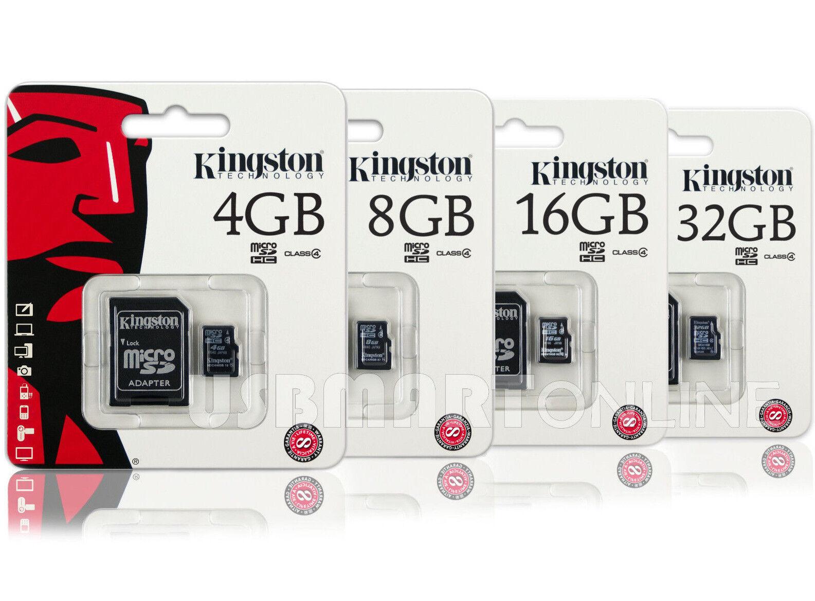 Kingston 4GB 8GB 16GB 32GB Micro SD SDHC Class 4 Flash Memory Card Pack lot