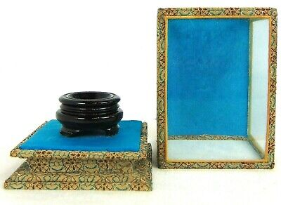 Collectible Egg Display Case Vintage Box Chinese Fabric Wood Velvet Glass Eggs