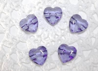 5 Herz Kinderknöpfe in der Farbe ROSA / PINK  Ø ca. 15mm
