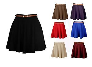 New-Womens-Ladies-Belted-Skater-Flared-Jersey-Plain-Mini-Party-Dress-Skirt-8-14
