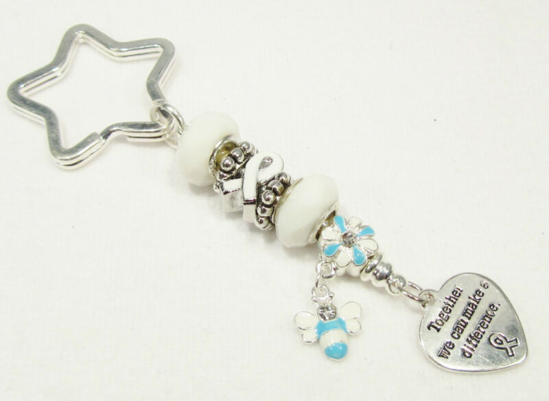 #6176 -- WHITE RIBBON AWARENESS CHARM STERLING 925 SILVER GLASS BEADS KEY CHAIN