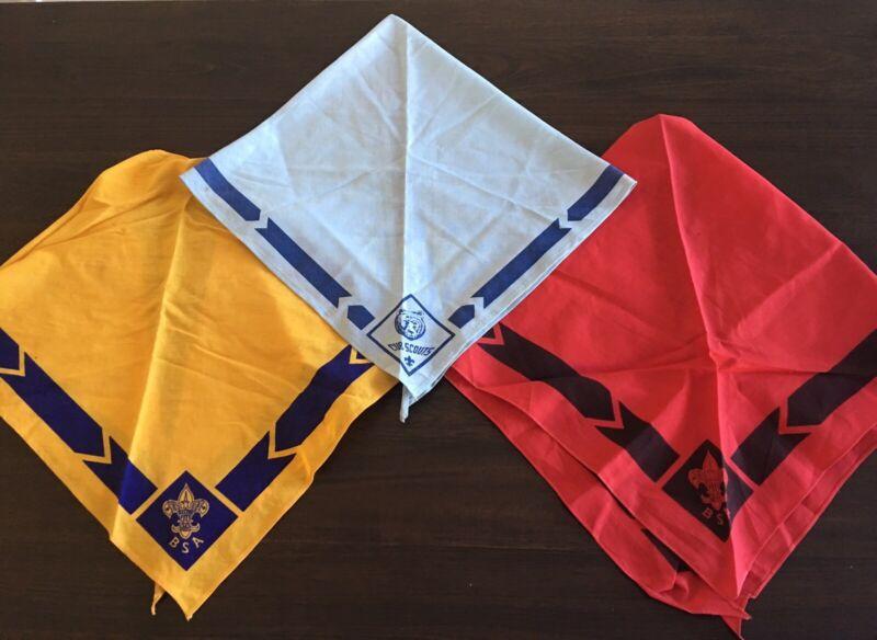Vintage Boy Scout Club Scout Scarfs Boy Scout Of America Red Blue Yellow FREE SH
