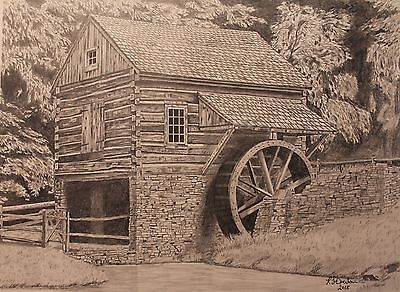 Log Cabin and grist mill, drawing, print, history, Pencil, Graphite
