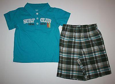 Neu Carter's Jungen 2 Stück Surf Club Lokal Cutie Top Kariert Shorts Kostüm 3T