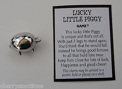 bb LUCKY LITTLE PIGGY Pig POCKET TOKEN CHARM good luck ganz figurine persevere