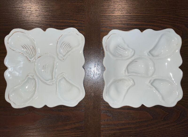 Antique Oyster Plates ~ Victoria Pottery ~ Altrohlau Bohemia, Pair
