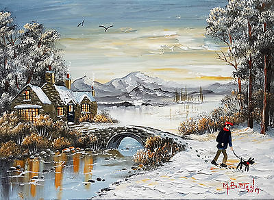 """MAL..BURTON ORIGINAL ART OIL PAINTING """" OUT FOR THE MORNING WALK WINTER SNOW"""