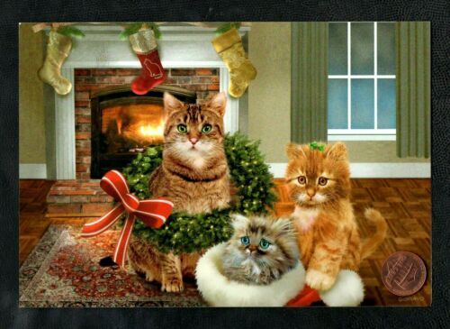 Christmas GIORDANO Kittens Cats Wreath Fireplace Stockings Bows - Greeting Card