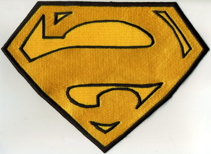 """7"""" x 10"""" Large Superman BIZARRO Style Cape Yellow & Black Embroidered Patch"""