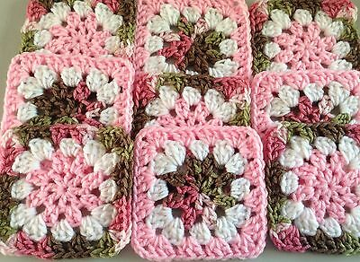 "20 4.5"" PINK CAMO FLOWER Hand Crocheted GRANNY SQUARES Blocks AFGHAN THROW"