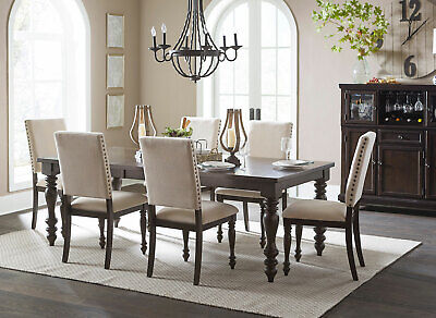Traditional Dining Room Furniture 7pcs Gray Rectangular Table & Chairs Set