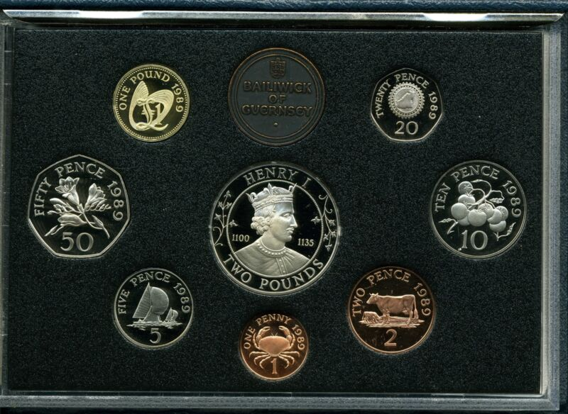 Baliwick of Guernsey Proof Set 1989 Eight-Coin Collection