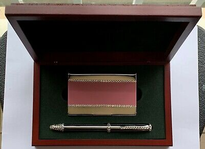 Pink Metal Card Holder Pen W Swarovski Crystal Decoration In Luxury Wood Box