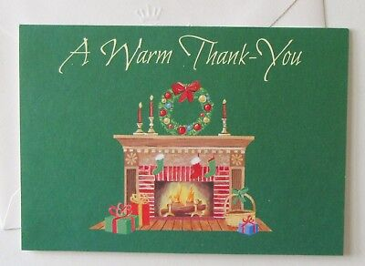 Unused Vtg Christmas Card Thank You Fireplace Scene w Stockings Wreath Candles