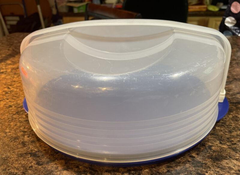 Tupperware Round Cake Taker Carrier Pie Holder Blue Base 3062 ~ Free Ship