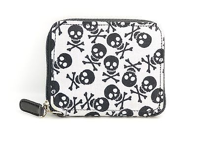 Skull Print Fabric Over Synthetic Leather Wallet Punk Goth Rockabilly Bikers  - Fabric Over Leather