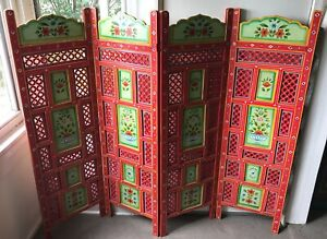 Ishka carved & hand painted  four panel screen/room divider