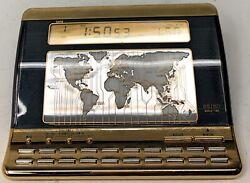 Seiko World Time Desk Clock QEK113G Weather Alarm TESTED WORKS