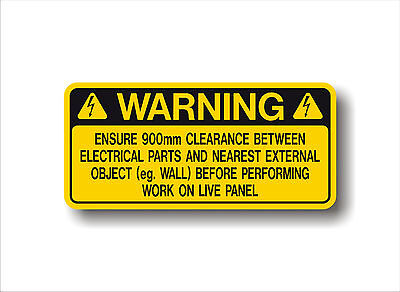 Electrical Safety decal WARNING LIVE PANEL -  metric 900mm CLEARANCE sticker