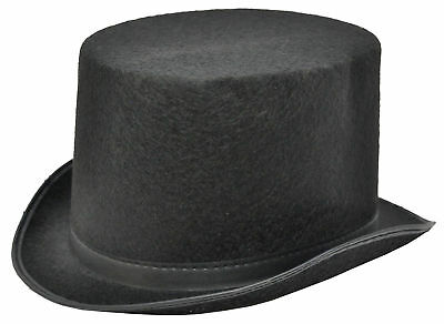 Black Felt Traditional Top Hat 1 5/8 Inches Front Brim