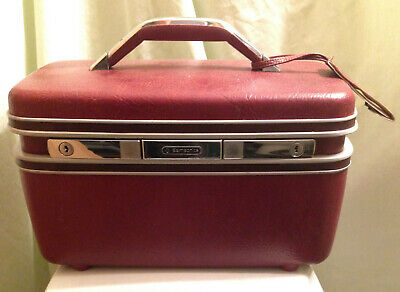 Vintage Mid Century Burgundy Samsonite Silhouette II Vanity Case W/ Address Tag!