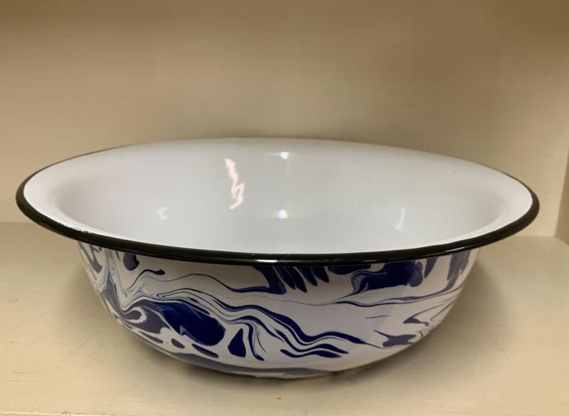 """NEW Enamel Splatter Ware Cobalt Blue Large Basin Bowl Serving 12 1/4"""" x 3 7/8"""""""