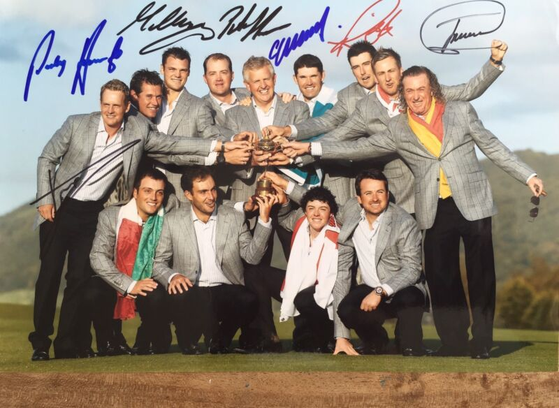 Ryder Cup 2010 signed by 7 European Players 12x8 photo UACC RACC Trusted AFTAL