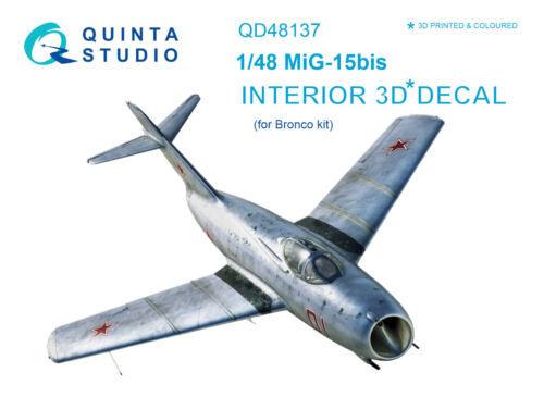 Quinta QD48137 1/48 MiG-15 bis 3D-Printed & coloured Interior (for Bronco kit)