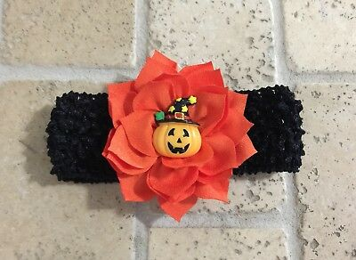 Handmade Halloween Pumpkin Jack O Lantern Baby Girl /Toddler /Girl Headband - Halloween Pumpkin Headbands