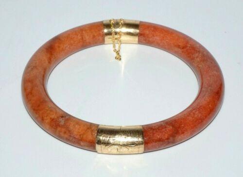 Chinese 14k Yellow Gold Hinged Red Jade Bangle Bracelet w. Clasp (SaR)#275