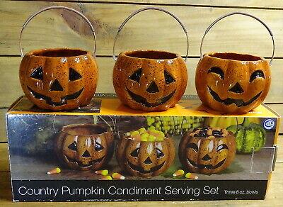 Halloween Condiment Set (BOSTON WAREHOUSE COUNTRY PUMPKIN JACK-O-LANTERN CONDIMENT SERVING SET)