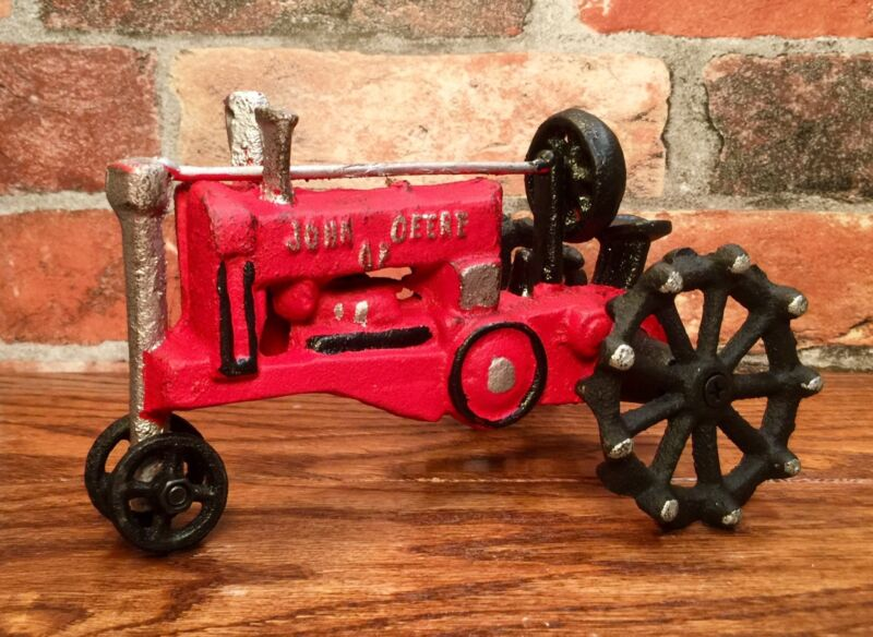 Cast Iron John Deere Vintage Red Farm Tractor Toy