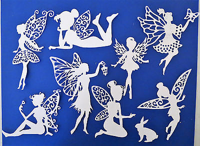 Fairies Fairy Intricate Paper Die Cut Embellishments scrapbooking 8 pc White