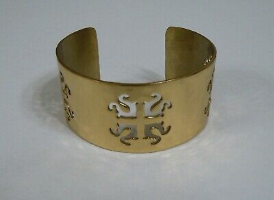 RUSTIC CUFF HAMMERED GOLD TONE CUFF BRACELET WITH CUT OUT DESIGNS 1 1/4 INCHES