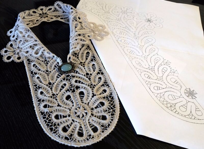 "PATTERN for Large  Collar-Insert Length 20 "" Russian Vologda Lace. Full size."