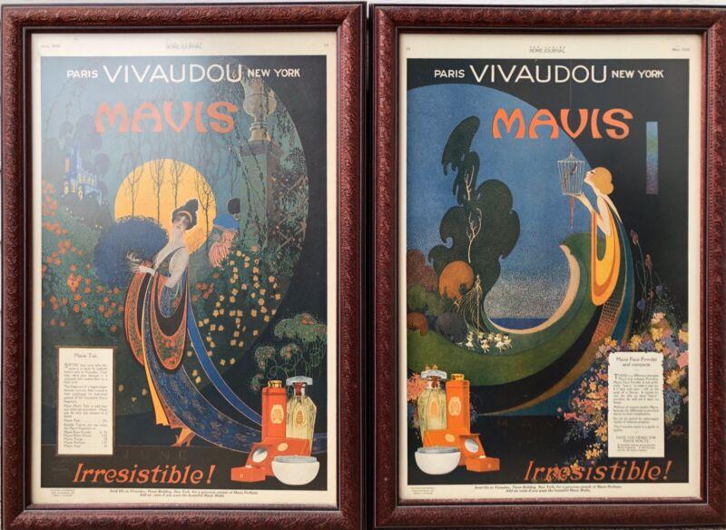 2 LADIES HOME JOURNAL Ads 1920 Framed Art Nouveau Vivadou Mavis Fred Packer