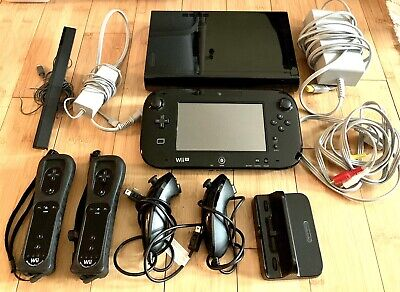 Nintendo Wii U 32GB Deluxe Console Bundle: stand, charger, gamepad, 2 remotes!