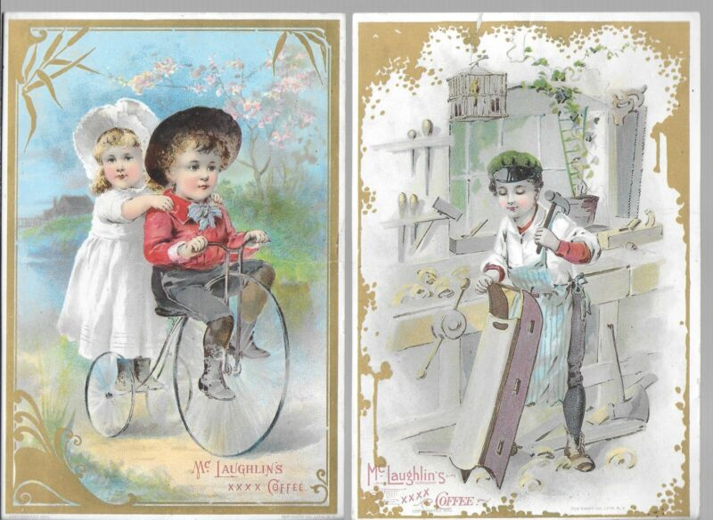 Lot of 15 Diff McLaughlin's Coffee Trade Cards – Colorful Large Format Cards
