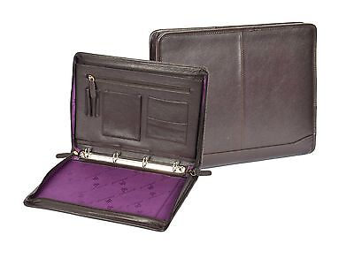 Zip Around Folio Brown Leather A4 Paper Binder Organiser Underarm Conference Bag