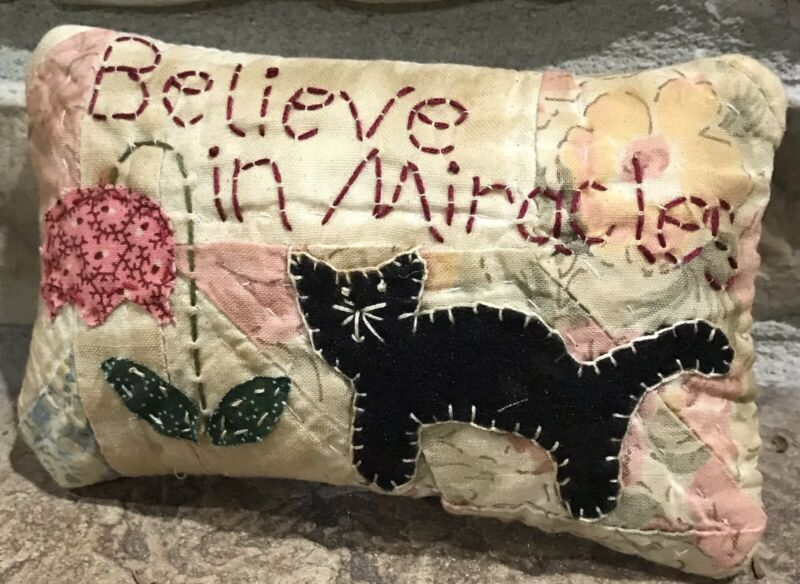 Primitive *Believe In Miracles* Black Cat Pillow-Made From Vintage Quilt