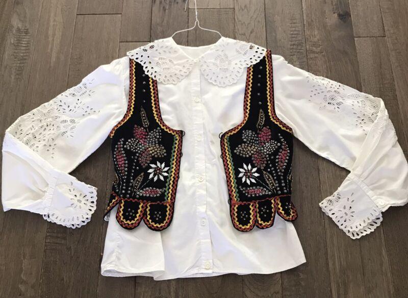 Handmade Polish Folk Costume Beaded Embroidery Vest Vintage Velvet With Blouse
