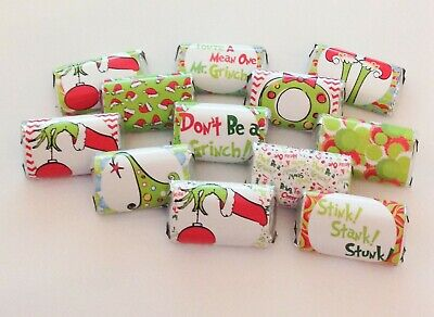 50 THE GRINCH MINI CANDY BAR WRAPPERS FOR PARTY FAVORS SMALL GIFTS