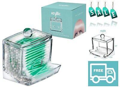 Qtip Cotton Swab Dispenser Holder Vanity Countertop Organizer Box Jar with Lid