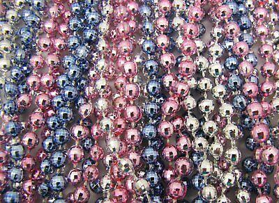 Pink And Blue Mardi Gras Beads (2 Dozen Mardi Gras Beads BABY PINK/BLUE/SILVER Gender Reveal Shower 24)