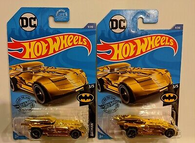"2020 HOT WHEELS BATMOBILE GOLD #3/5 from Batman Series ""G"" CASE Lot of 2 VHTF"