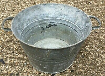 Vintage galvanised little round tub planter container boiling pot